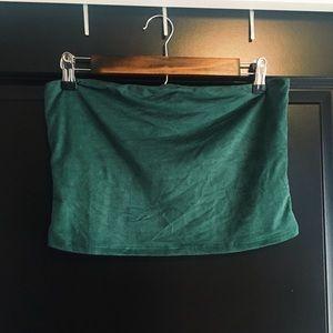 Urban Outfitters Dark Green Velvet Tube Top
